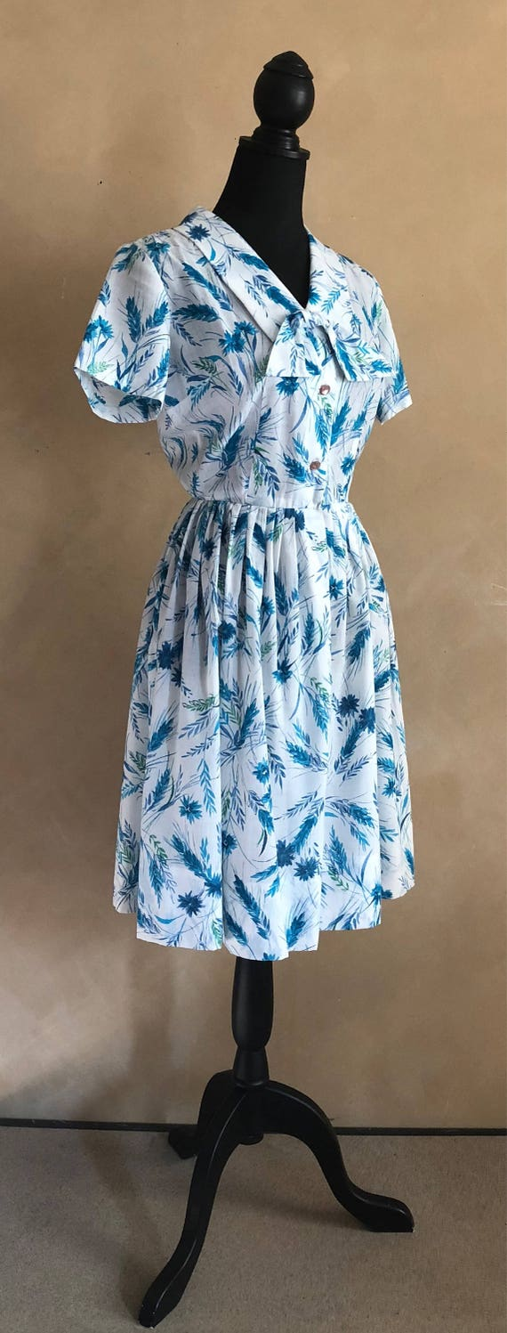 Vintage Floral Dress - Cotton -1950's