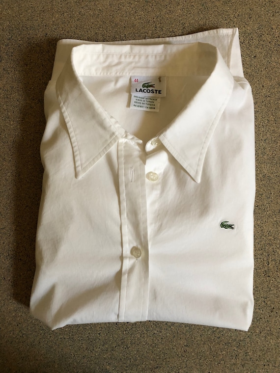 Vintage Lacoste Shirt - White Cotton Oxford Button Front Blouse