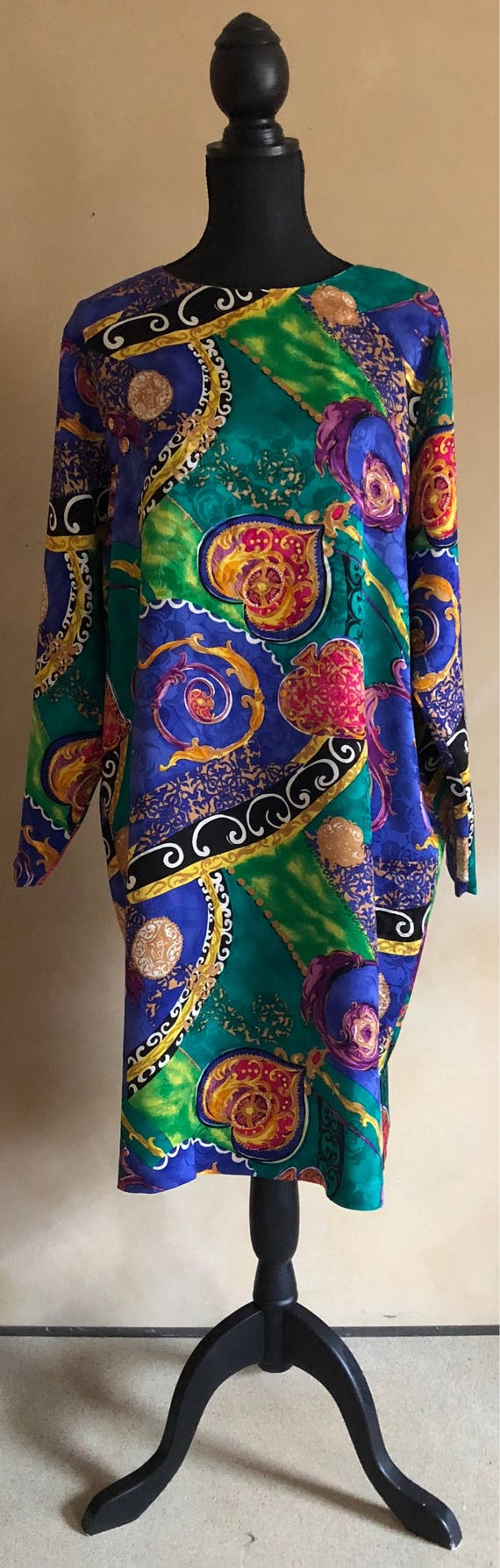 Silk Blouse Vintage 90's ~ Beautiful Bright Print -Pat Argeni