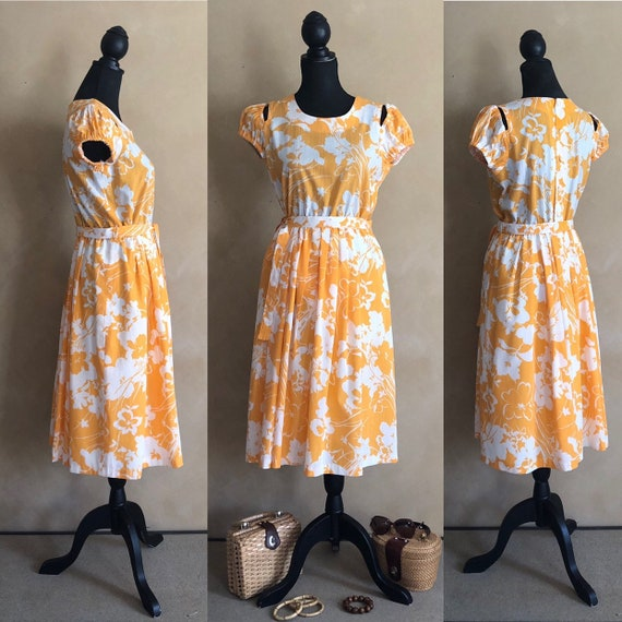 Vintage 70's Marigold  Yellow Floral Dress - image 1