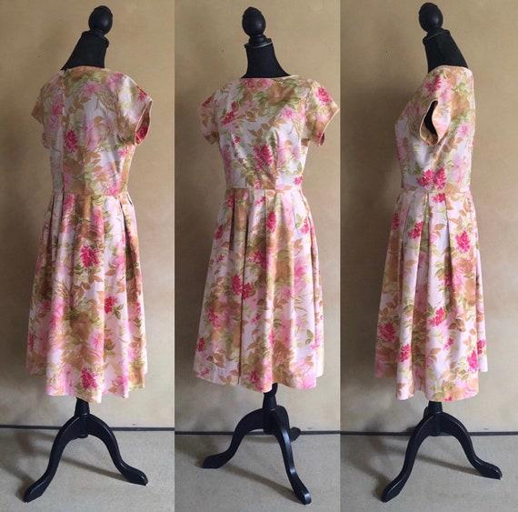 Vintage Dress 1950's ~ Pink Floral Dress - Label: