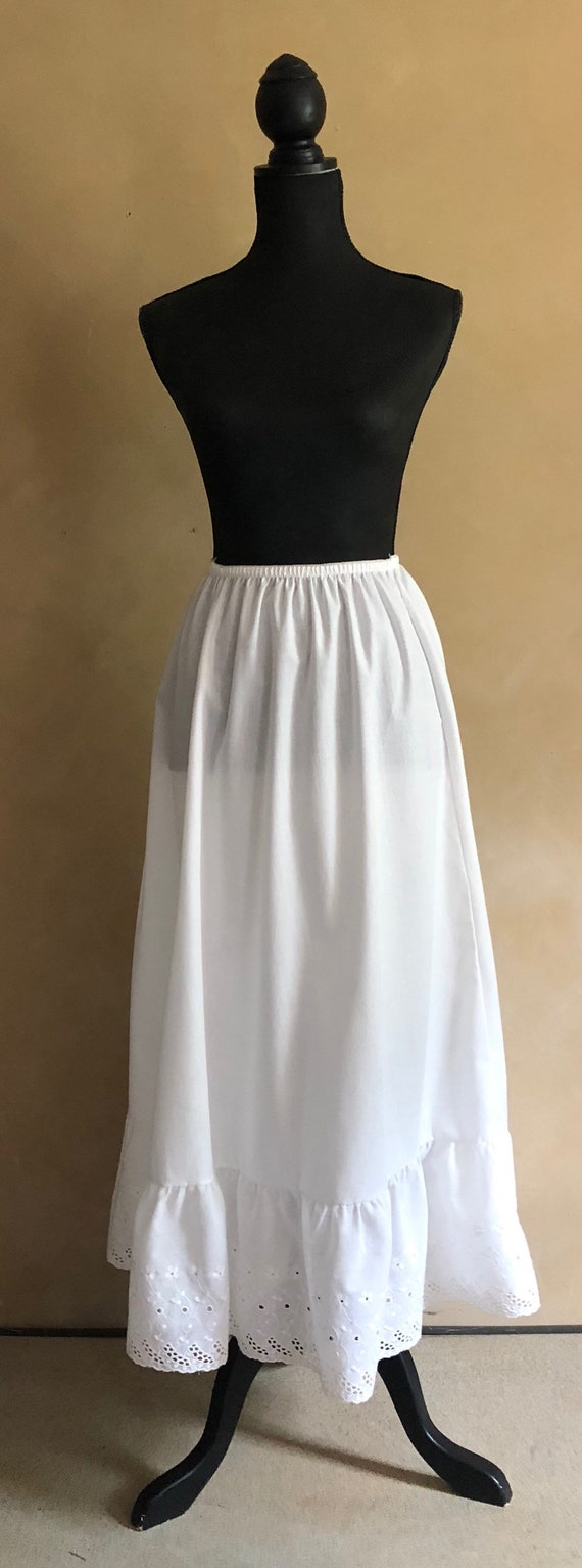 White Cotton Skirt Petticoat Vintage 1970's