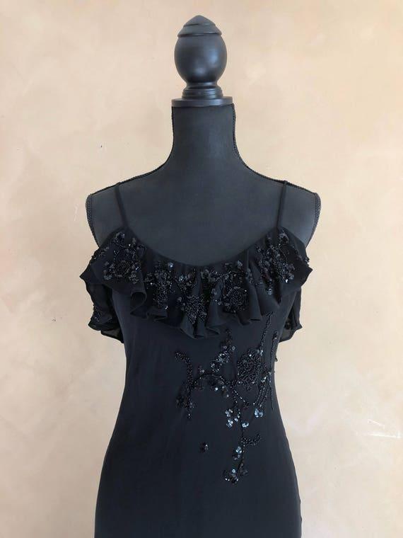 Ralph Lauren Black Silk Beaded Gown