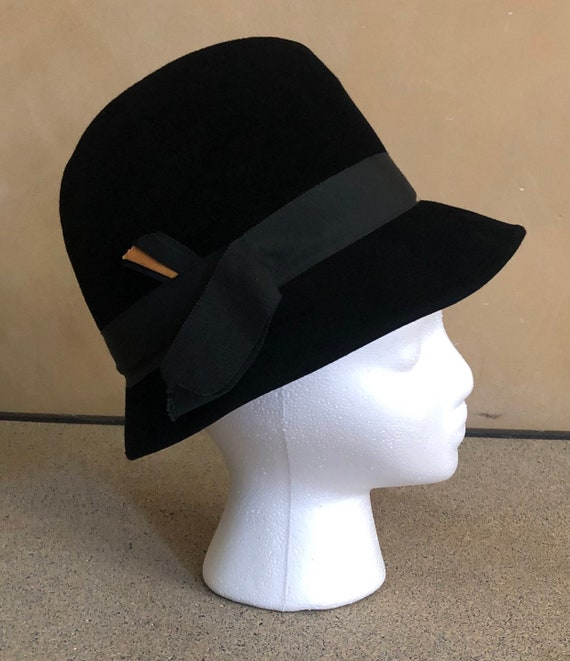 40's Hat Black Fedora Vintage Livingston Bros