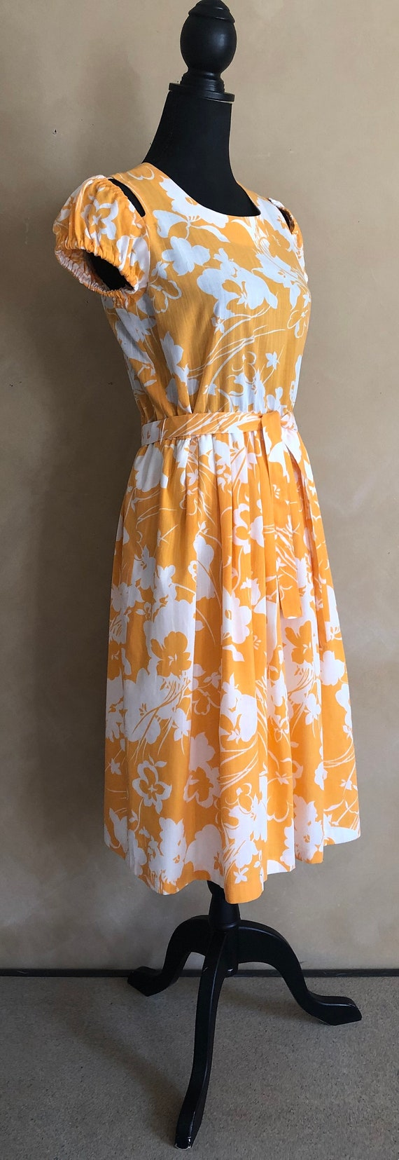 Vintage 70's Marigold  Yellow Floral Dress - image 2