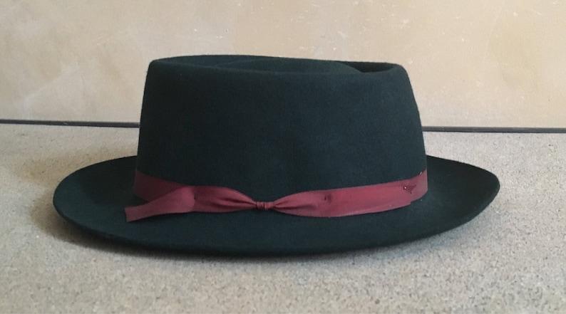 89bb4f3d3 Vintage Green Fedora 60's - 100% Wool Hat - Crusher