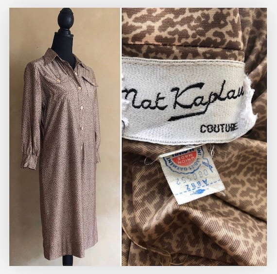 Leopard Dress - Vintage 1970's shirt dress