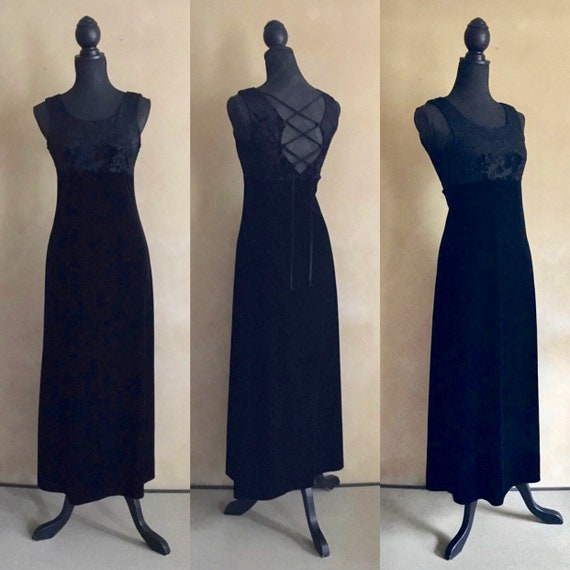 Vintage Black Velvet Dress - long black velvet dre