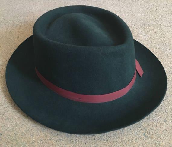 Vintage 70's Green Wool Hat - Fedora