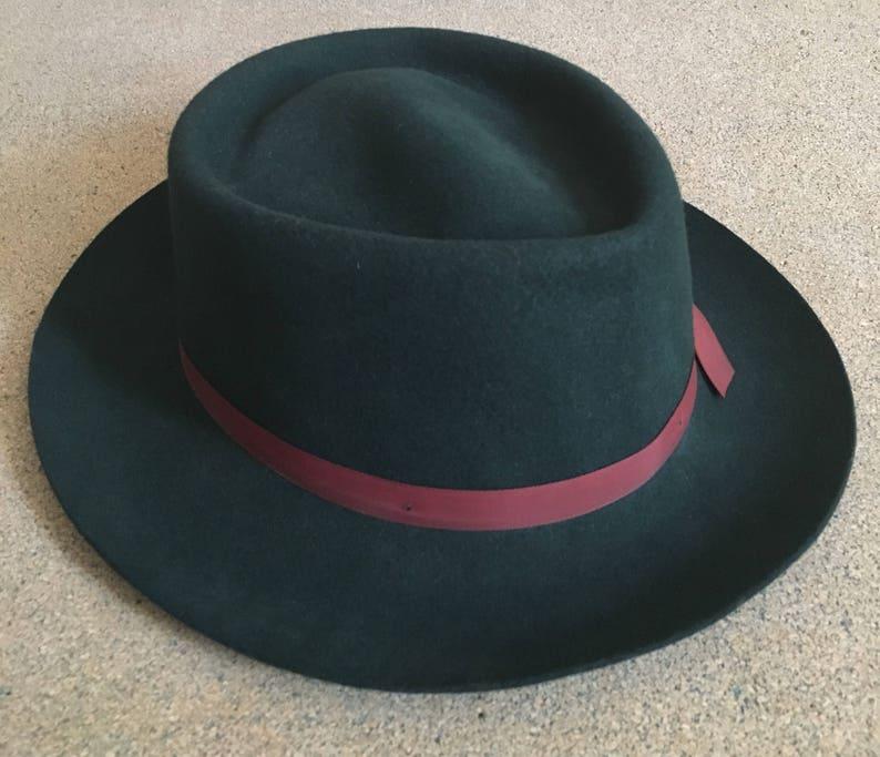 0719c6b96 Vintage Green Fedora 60's - 100% Wool Hat - Crusher