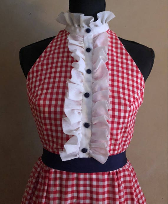 Vintage Red Gingham Maxi Dress - 1960's  Ruffled Front