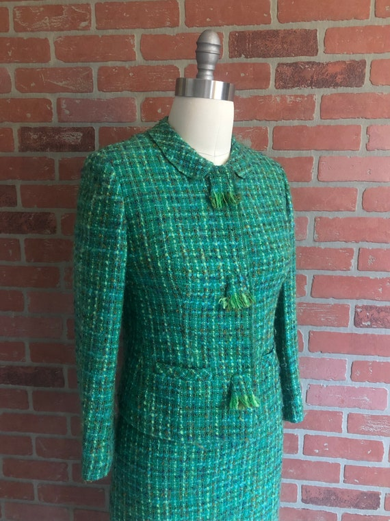 Vintage 1960's Suit ~ Boucle Skirt Suit in Green