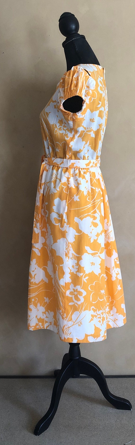 Vintage 70's Marigold  Yellow Floral Dress - image 8