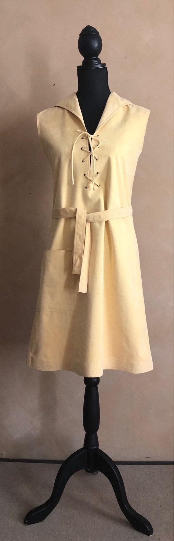 Halston Vintage 70's Dress -  Ultra Seude Yellow Dress