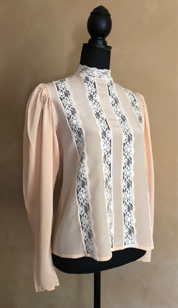 Vintage Silk Blouse - High Collar with Lace - Lord & Taylor - 70/80's Vintage