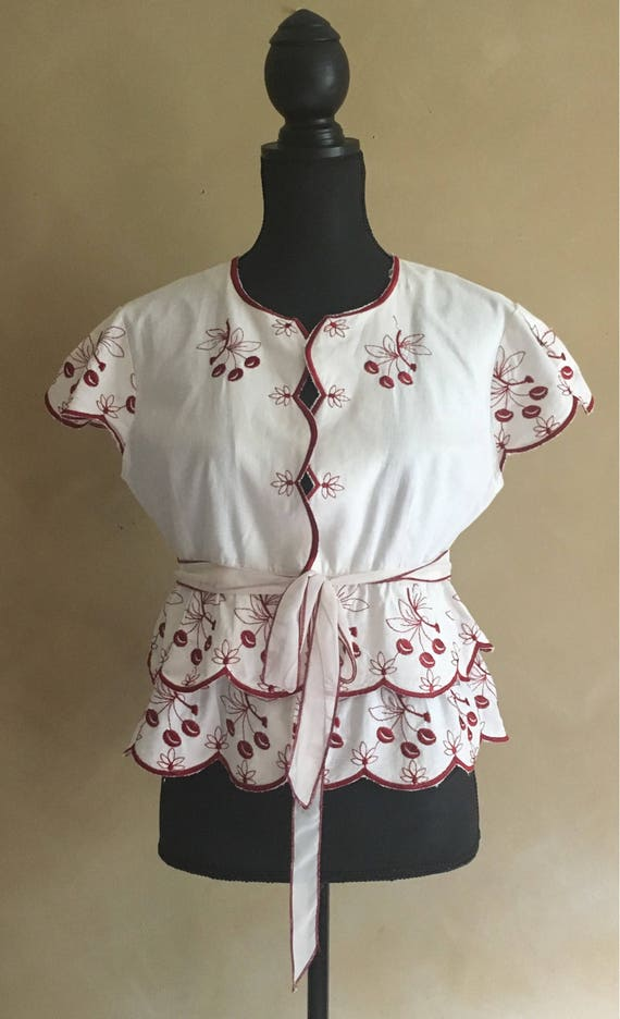 Vintage Blouse With Embroidered Red Cherries 1990's