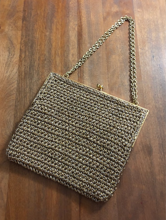 Vintage 60's- 70's Metallic Gold Evening Bag