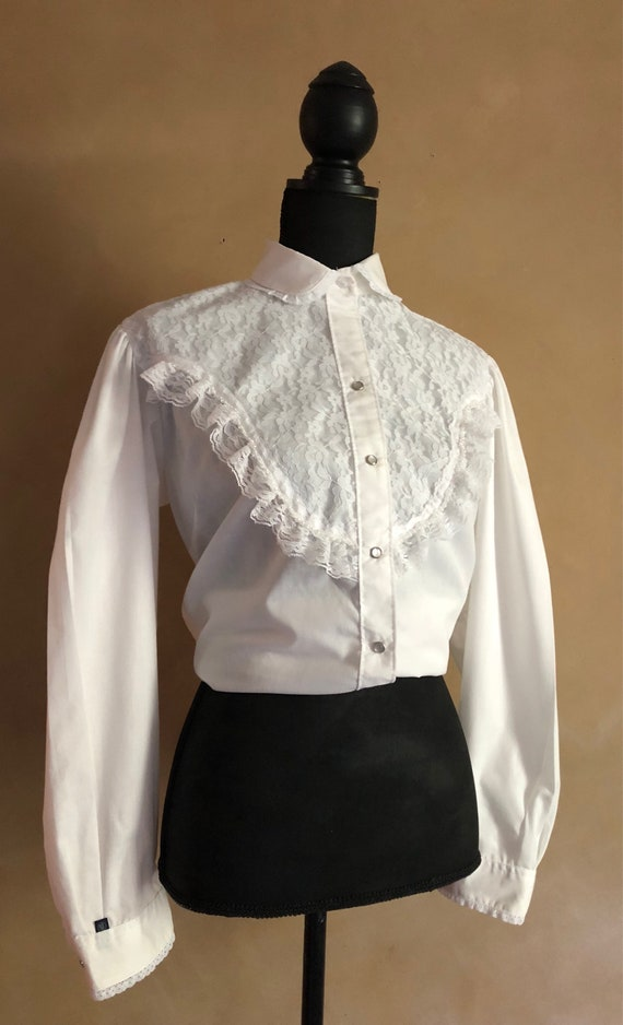 Vintage Country Western Blouse - Rockmount Ranchwear - White Blouse with Lace