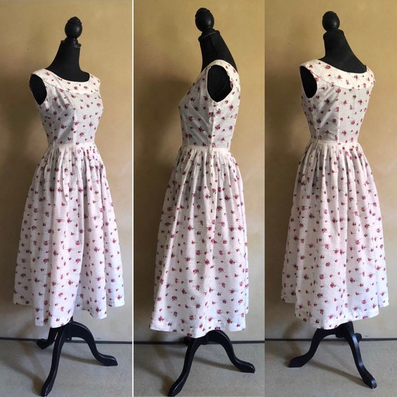 Vintage 1950's Rose Print Dress ~ Cotton dress