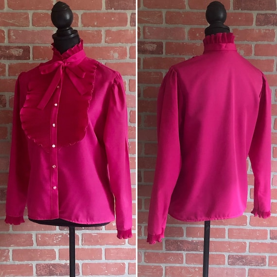 Vintage 60's Hot Pink Blouse - Bow Collar - Ruffle