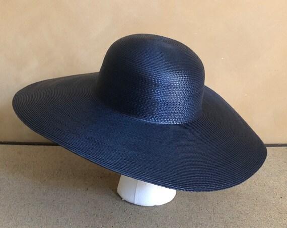 Vintage wide Brimmed Navy Straw Hat 1970's