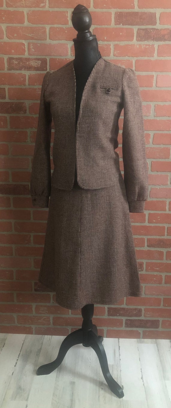 Vintage 1970's Brown Tweed Suit Skirt Set