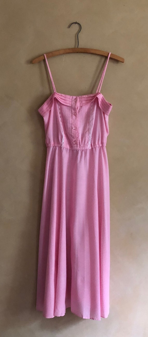 Vintage Pink Dress ~ Swiss Dot Vintage 70's