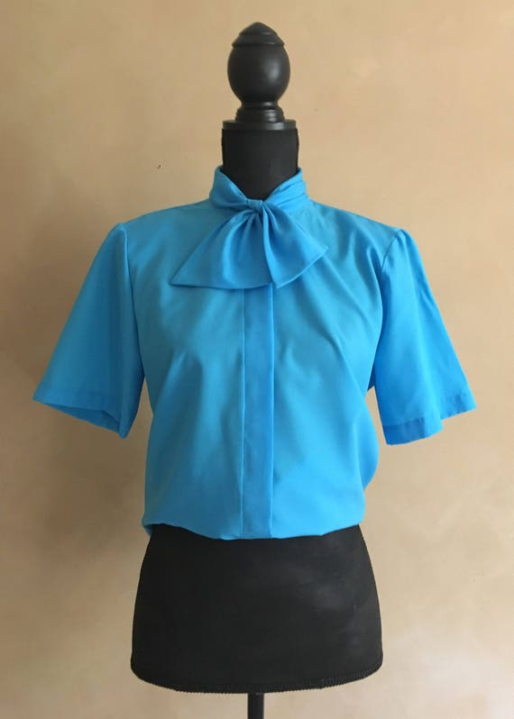 Pussy Bow Blouse 70's Vintage Blue Short Sleeve