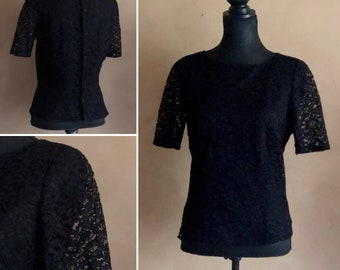 Vintage Black Lace Blouse - Made in Italy
