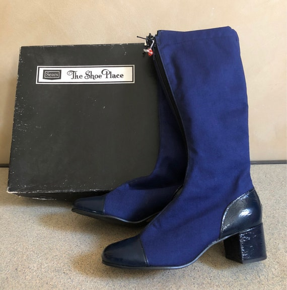 Vintage 60's Boots - Blue Patent Leather Toes & Heels - Never Worn - 7 1/2 - Brand: Kings