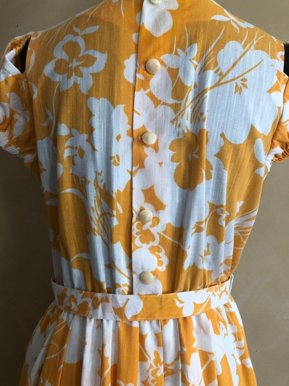 Vintage 70's Marigold  Yellow Floral Dress - image 7