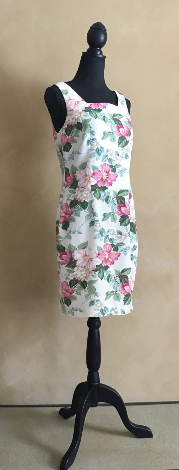 Vintage 80's Floral Dress -Hearts Brand- made in USA