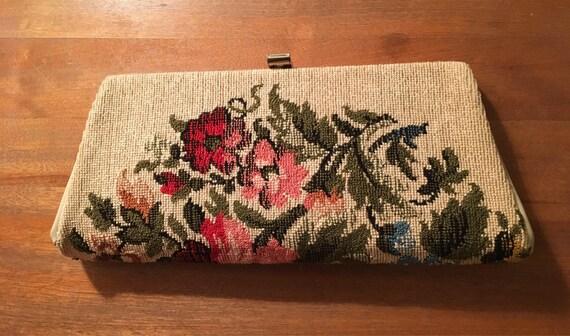 Embroidered Floral Clutch - Vintage Purse