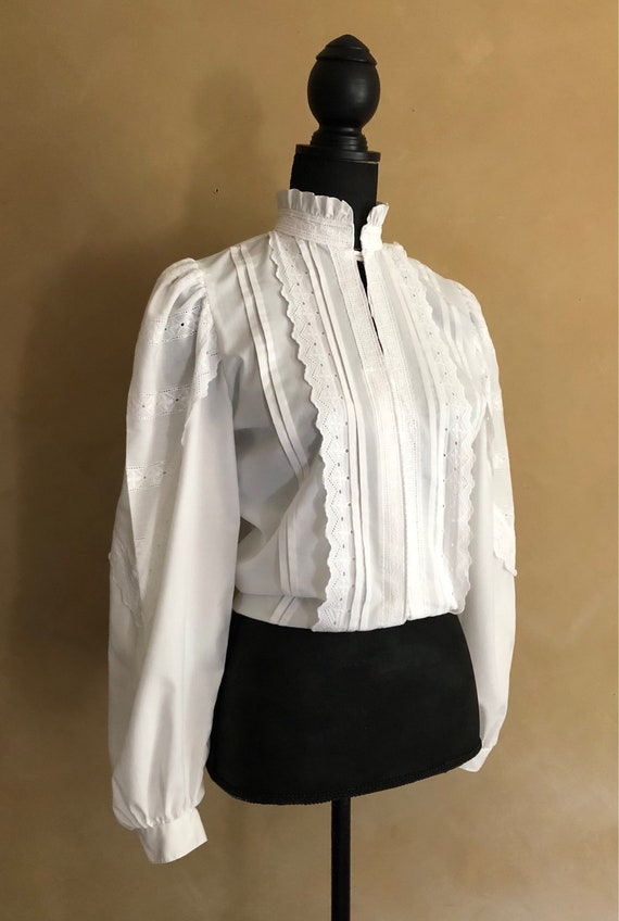 Vintage White Cotton & Lace High Collar Blouse - 70/80's