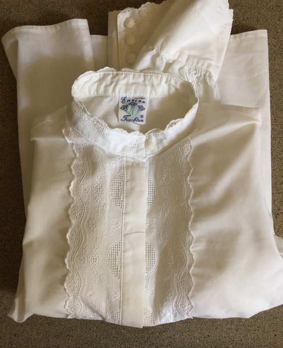 Vintage White Cotton & Lace Blouse - High Collar Blouse