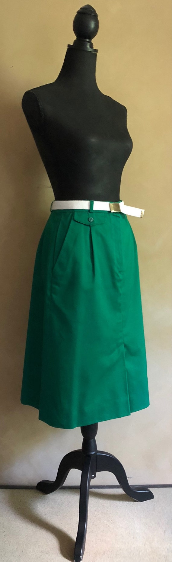 Vintage Green 70's Skirt - The Villager Brand - adjustable white belt