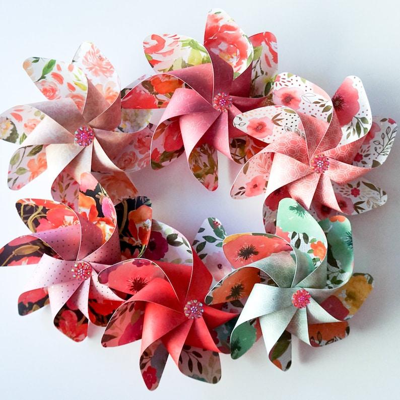 Flower Pinwheels Beautiful Floral Prints  Set of 6 Beautiful image 0