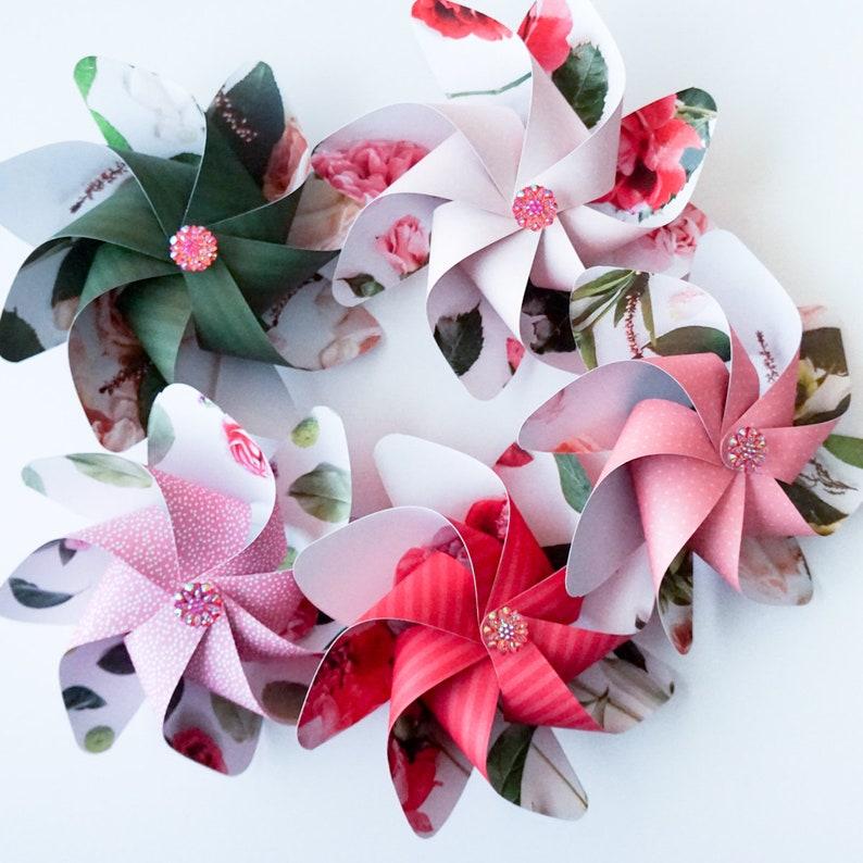 Flower Pinwheels Beautiful Floral Prints  Set of 5 Beautiful image 0
