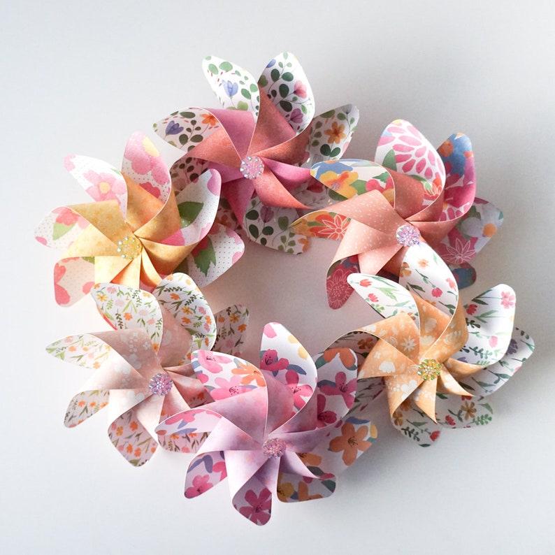 Flower Pinwheels Bright Floral Prints  Set of 6 Beautiful image 0