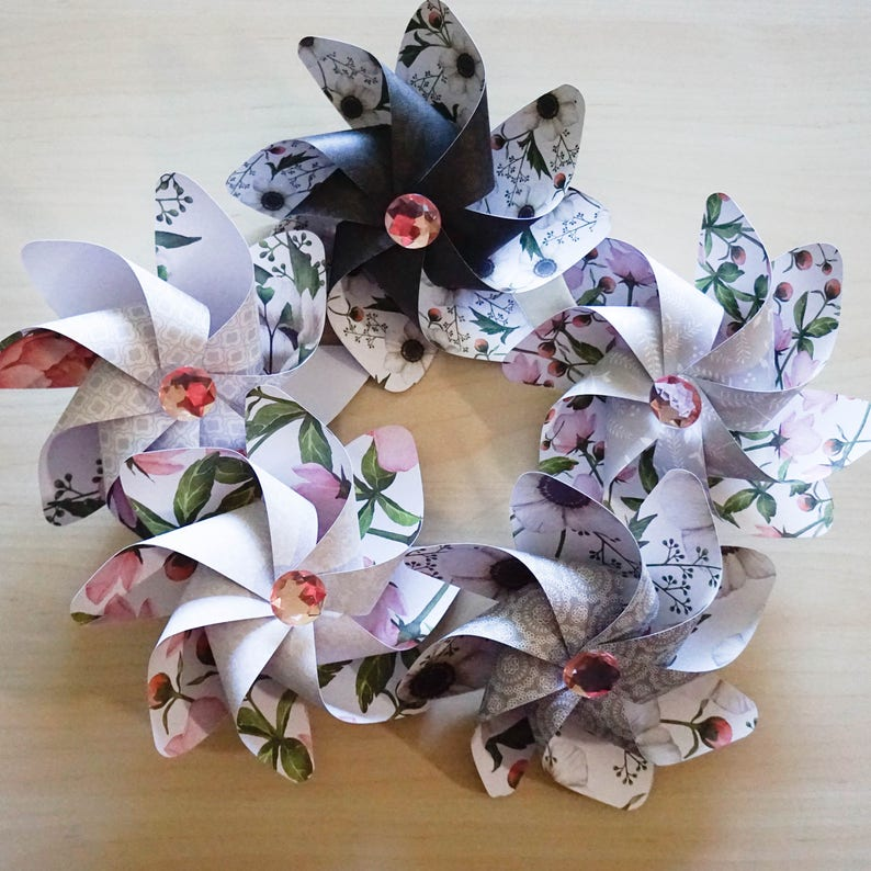 Pinwheels Flowers in Pink  Set of 5 Beautiful Double Spinners image 0
