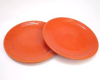 "Bauer Orange Ringware dinner plate 9 1/2"""