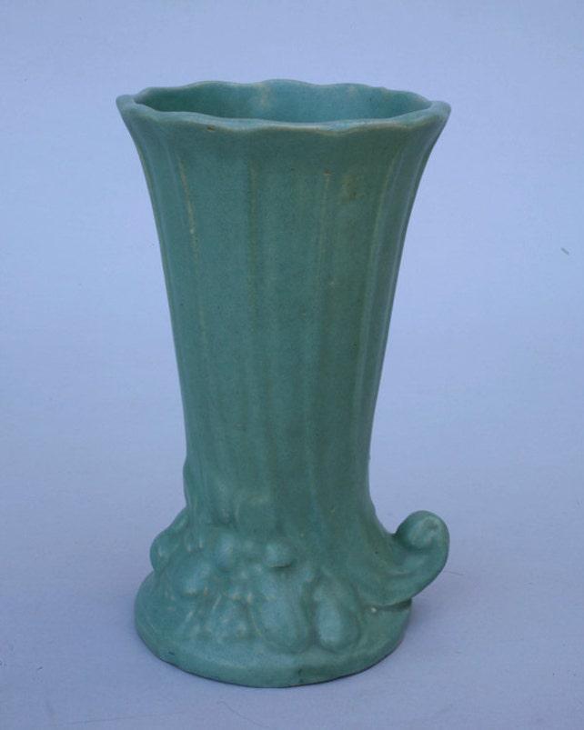 Mccoy Vase Green Cornucopia Vase Etsy