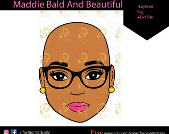 Bald Woman Svg Etsy