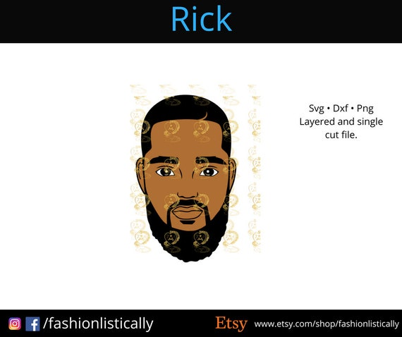 Black Man With Beard Svg African American Svg Ethnic Svg Etsy