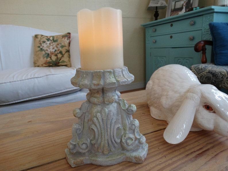 Pillar Candle Holder Shabby Cottage Decor Weathered Look