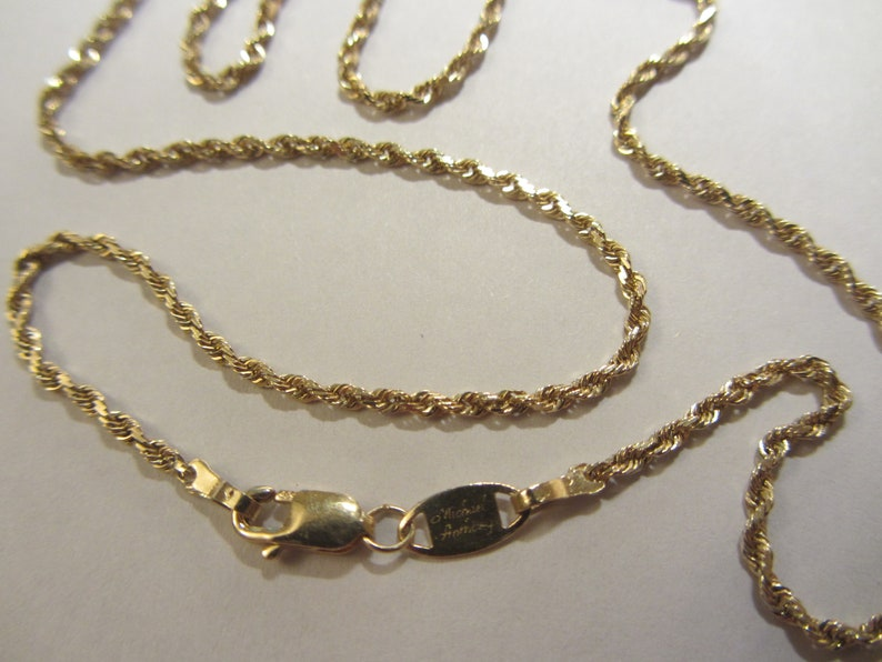 f74470daee4a6 14k Solid Gold Michael Anthony Rope Chain Necklace - 18+