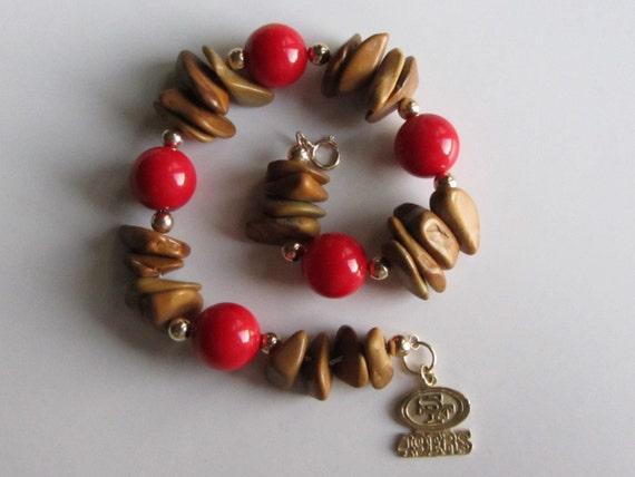 AAA Sardinian Coral 14k Gold San Francisco 49ers Golden Jasper Nuggets 14k Beads with Vintage 14k Gold 49ers Charm Bracelet 8 18 26.86g