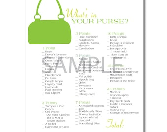 Lime Green Bridal Shower Game: What's in Your Purse?