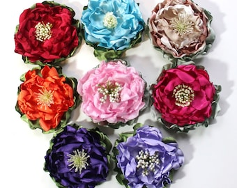 Flower Pin, Satin Fabric Flower, Corsage, Flower Accessory