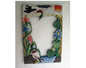 Naive art wood mirror frame, unique hand-made by artist c 1984. Shiplap, beach house, Nantucket, Long Island style. New, never used.